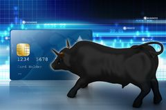 Bull with smart card. 3d illustration of Bull with smart card Stock Photo