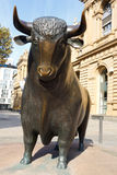 Bull Statue at the Frankfurt Stock Exchange Stock Photography