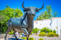 Bull statue in front of the bullfighting arena in Ronda, Spain Royalty Free Stock Images