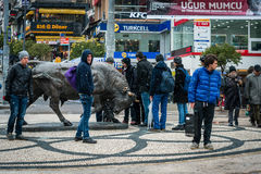 Bull statue at Kadikoy square in Istanbul, Turkey Stock Image
