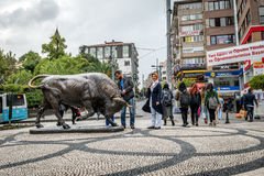 Bull statue at the Kadikoy square Royalty Free Stock Image