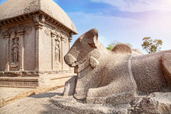 Bull statue in Mamallapuram Stock Photo