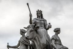 Bull statue representing the continent of Europe in Albert Memorial in Kensington Gardens in London, England. A picture of a bull statue representing the royalty free stock photography