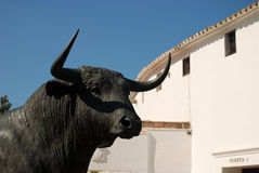 Bull statue in Spain. Bull statue in front of the buillfighting arena in Ronda, Spain Stock Photo