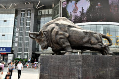 Bull statue. Is the symbol of bull market, wuhan city, hubei province, china Royalty Free Stock Photo