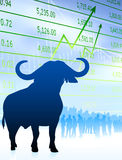 Bull on stock market background with financial team. 