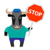 Bull with a stop sign Stock Photography