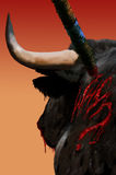 Bull suffering Royalty Free Stock Image