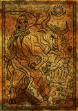 Bull symbol on antique texture background. Ox with death skeleton, crown and mystic signs Stock Photo