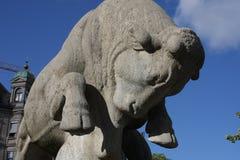 Bull Tamer or Geiser Fountain in Zurich, Switzerland. Stock Images