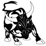 Bull tattoo vector with ornament decoration Stock Photo