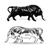 BULL-Taurus, zodiac sign, Ornate silhouette on white background,. Vector Royalty Free Stock Photography