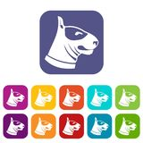Bull terrier dog icons set. Vector illustration in flat style In colors red, blue, green and other Stock Photo