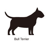 Bull Terrier dog silhouette, side view, vector Royalty Free Stock Images