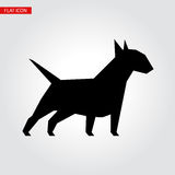 Bull terrier dog vector black silhouette. Vector illustration for your cute design Stock Images