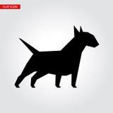 Bull terrier dog vector black silhouette. Stock Images