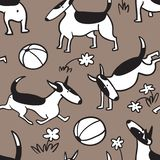 Bull terrier dogs seamless pattern. Background with pets character in doodle simple style. Vector illustration. For fabric, textile, wrapping, other surfaces vector illustration