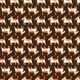 Bull terrier dogs seamless pattern. Background with pets character in doodle simple style. Vector illustration. For fabric, textile, wrapping, other surfaces royalty free illustration