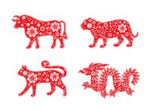 Bull and tiger, cat and dragon. 2024, 2023, 2022 and 2021. Red flower ornament. Chinese new year symbol royalty free illustration