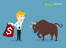Bull treading on the stock market. Royalty Free Stock Images