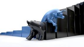 Bull u. Bär Econonomic Tendenz-Kreuz Stockbild