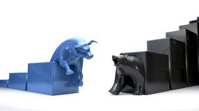Bull u. Bär Econonomic Tendenzen laufen zusammen Stockbilder