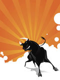 Bull vector. Furious bull charging   vector illustration Royalty Free Stock Images