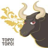 Bull. Vector Illustration. Corrida, black bull Royalty Free Stock Photos