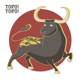 Bull. Vector Illustration. Corrida, black bull Royalty Free Stock Photo