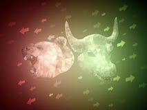 Bull verde contra concepto rojo del ejemplo de la bolsa de acción del oso con la flecha hacia arriba y hacia abajo para indicar e stock de ilustración