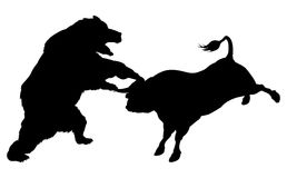Bull Versus Bear Silhouette Concept. Bear fighting bull in silhouette, standing for the bears versus bulls stock market metaphor in silhouette Stock Images