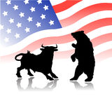 Bull versus bear wall street market. Vector illustration of bear and bull by silhouettes, explaining the different kind of operations in stock market by brokers Stock Images