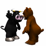 Bull vs Bear Market. Large brown bear representing a Bear Market growling angrily and pointing down and a dark gray bull representing a Bull Market pointing up