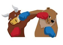 Bull vs bear symbol of stock market trend illustration red blue royalty free illustration