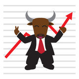 The bull wear business suit in front of bullish stock market gra Stock Photos