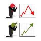 Bull y el oso ruegan para apostar a bolsa de acción Verde encima de la flecha Rojo Imagen de archivo libre de regalías