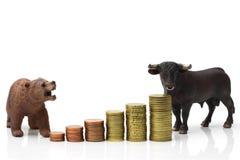 Bull y mercado bajista Imagen de archivo libre de regalías