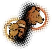 Bull y oso stock de ilustración