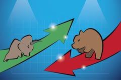 Bull y oso con el gráfico, el mercado de acción y el concepto financieros del negocio Fotos de archivo