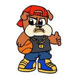 Bulldog basketball player cartoon
