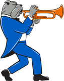 Bulldog Blowing Trumpet Side View Cartoon Royalty Free Stock Photography