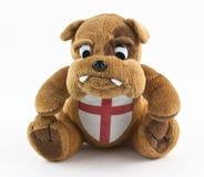 Bulldog british. British bulldog wearing english red cross flag Royalty Free Stock Image