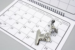 Bulldog Clips on Calendar Royalty Free Stock Photography