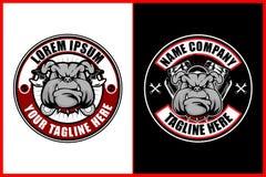 Bulldog con il motore del v-gemello e della chiave per il modello di logo di vettore del club del motociclo royalty illustrazione gratis