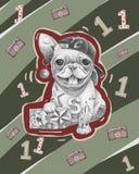 Bulldog con un cappuccio illustrazione vettoriale