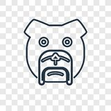 Bulldog concept vector linear icon isolated on transparent backg stock illustration