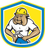 Bulldog Construction Worker Holding Hammer Cartoon. Illustration of a bulldog construction worker builder wearing hardhat holding hammer facing front set inside