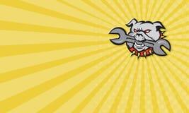 Bulldog Dog Spanner Head Mascot Royalty Free Stock Image
