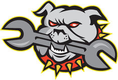 Bulldog Dog Spanner Head Mascot Stock Photos