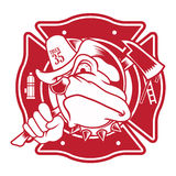 Bulldog fire fighter mascot Royalty Free Stock Photography
